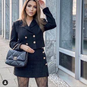 ZARA 2-Pieces Tweed Cropped Texture Blazer & Skirt
